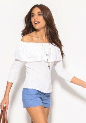 Tričko s volánovým lodičkovým výstrihom #ModinoSK #modino_style #top #offshoulders
