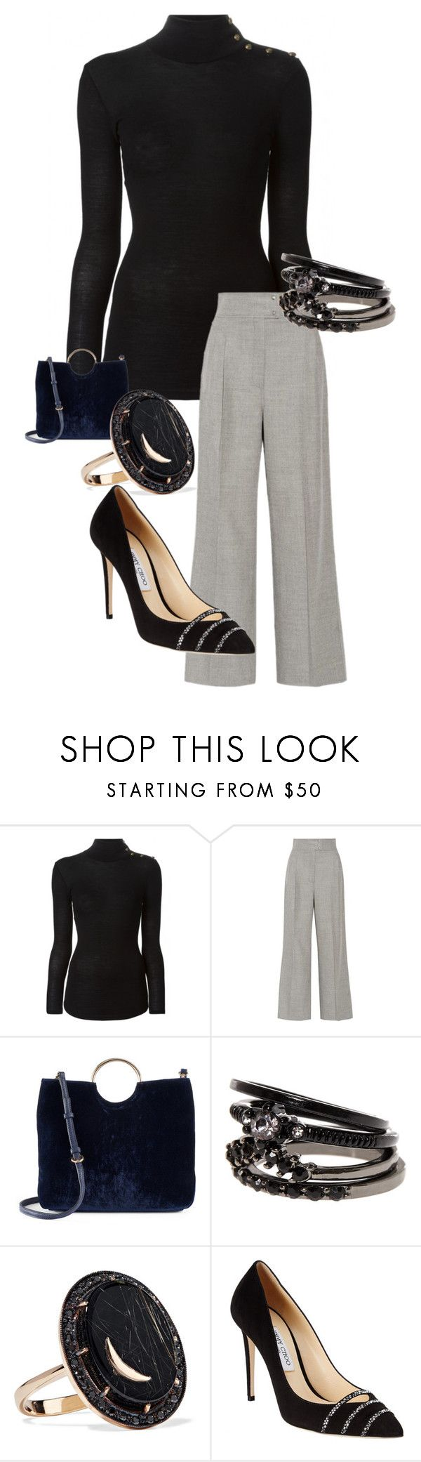 """Evening."" by angelinascards on Polyvore featuring Balmain, Barbara Casasola, LC Lauren Conrad, Andrea Fohrman and Jimmy Choo"