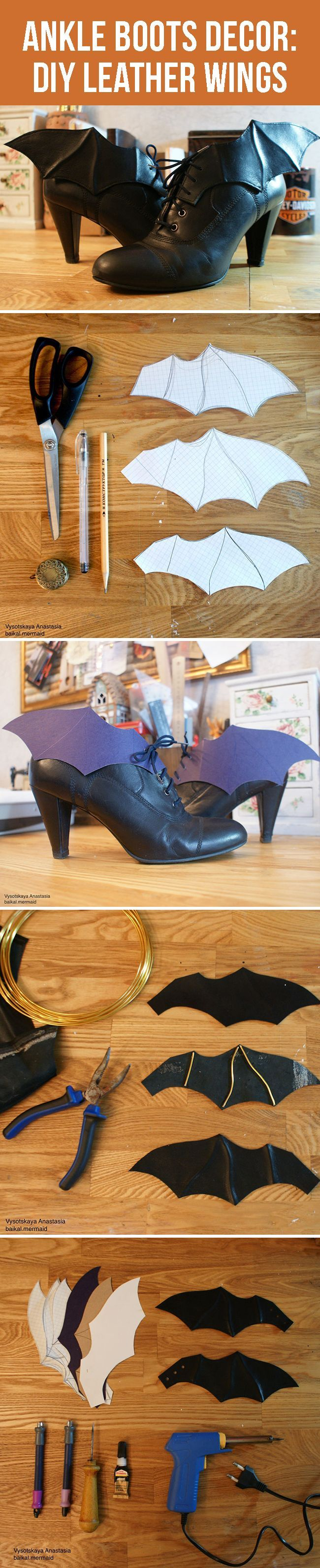 Ankle boots decor: how to make leather wings                                                                                                                                                                                 More