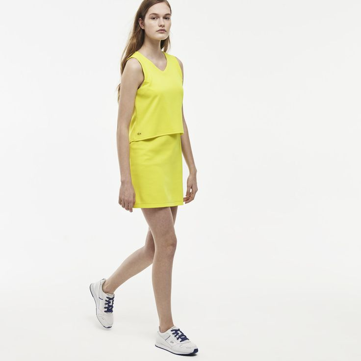 Lacoste LIVE sleeveless V-neck two layer dress in cotton interlock