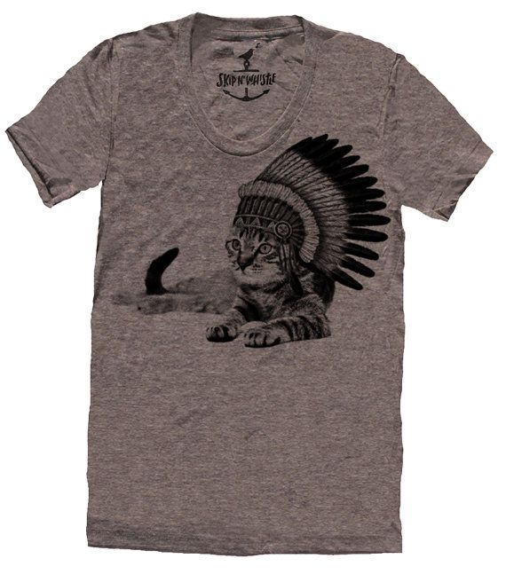 CAT INDIAN lady t shirt  american apparel  S M L by skipnwhistle, $24.00