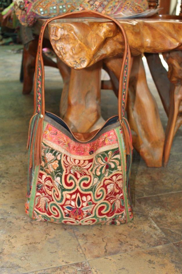 Elegant Hilltribe Hobo Shoulder bag with leather