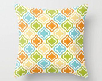 Check out Modern Pillow, Contemporary Pillow, Diamond Pillow, Jeweled Pillow, Throw Pillow, Orange Pillow, Yellow Pillow, Pillow Cover, Green, Blue, on peppermintcreek