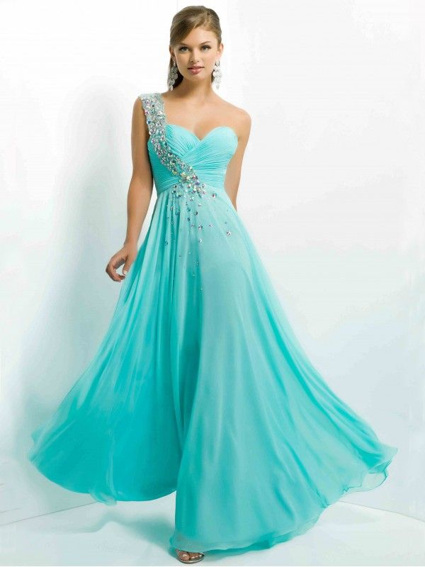 A LINE BEADED ONE SHOULDER FLOOR LENGTH SLEEVELESS CHIFFON PROM DRESSES