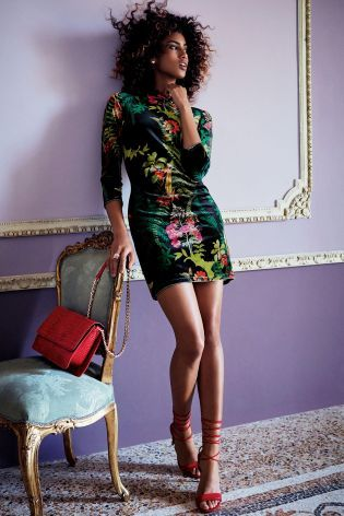 Buy Black Floral Velvet Bodycon Dress online today at Next: Belgium