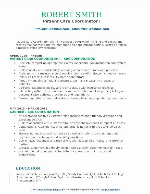 Patient Care Coordinator Job Description Resume Fresh Patient Care Coordinator Resume Samples In 2020 Teacher Resume Examples Resume Examples Sales Resume Examples