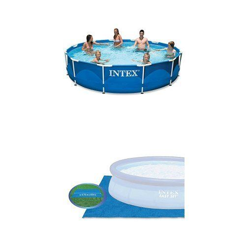 Swimming Pools - Intex 12ft X 30in Metal Frame Pool Set and Pool Ground Cloth Bundle * Continue to the product at the image link. (This is an Amazon affiliate link)