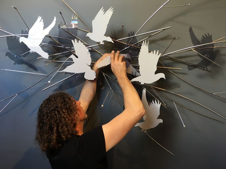 Andre Stead Installation of 'Scattering Doves' (2/4)