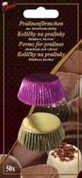 Hliníkové košíčky na pralinky 50 ks č. P-907 zlatý/fialový