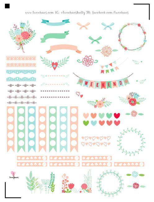 Planner & Journaling Printables ❤ FREE printable floral planner stickers   pastel love
