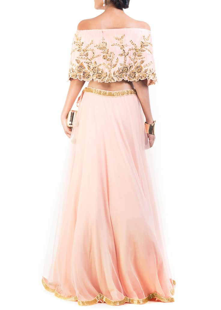 Blush peach gilded cape lehenga