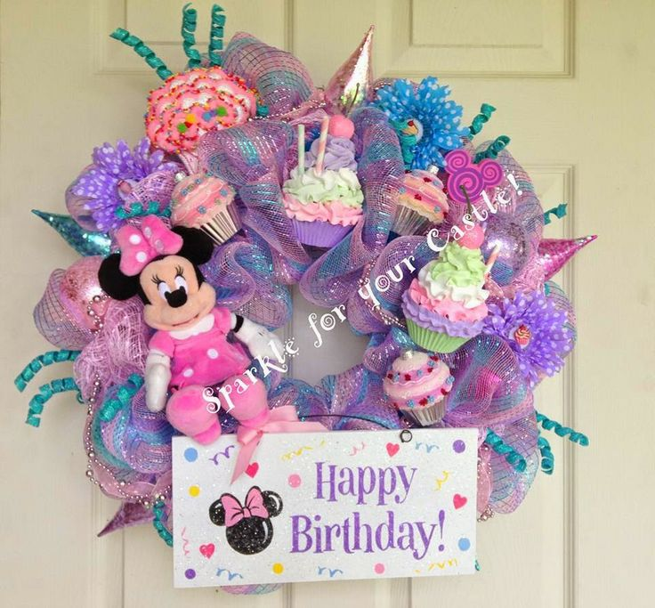 http://www.pinterest.com/alpeglowery/wreaths/  My Disney Life: Fun Find: Sparkle For Your Castle.  Minnie Mouse Cupcake Birthday Wreath by Sparkle For Your Castle on Etsy.