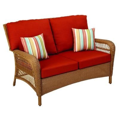 Martha Stewart Living Charlottetown Natural All Weather Wicker Patio  Loveseat With Quarry Red Cushions