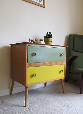 Stunning Retro 50s 60s Wooden Chest of Drawers Vintage Cabinet Dressing Table