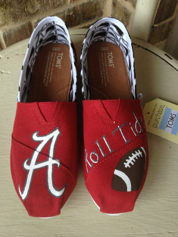 University of Alabama Game Day TOMS by brushandbow on Etsy, $100.00