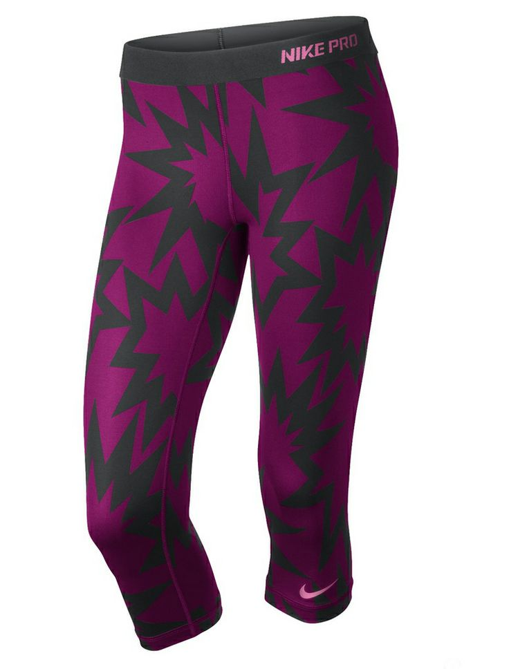 : A pair of Nike Pro printed compression capris ($45) look like something out of a pop-art print. Top off the look with a matching bra ($35) to make an even louder statement!