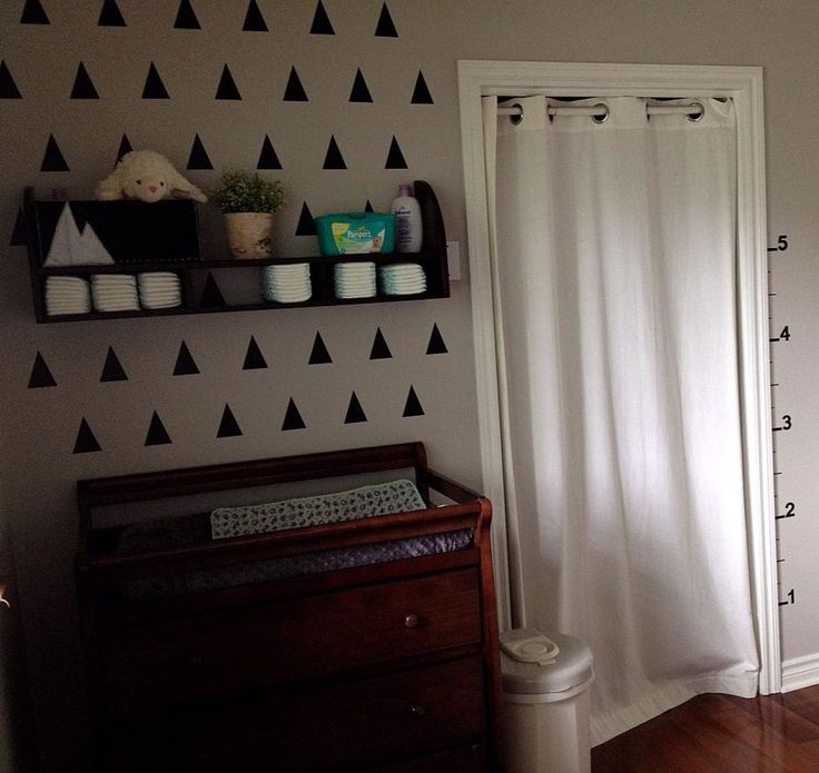 Love the triangle accent wall - #nurserydecor #accentwall #nursery: Long Dresser, Curtains Closet, Curtain Closet, Nurseries Ideas, Accent Wall