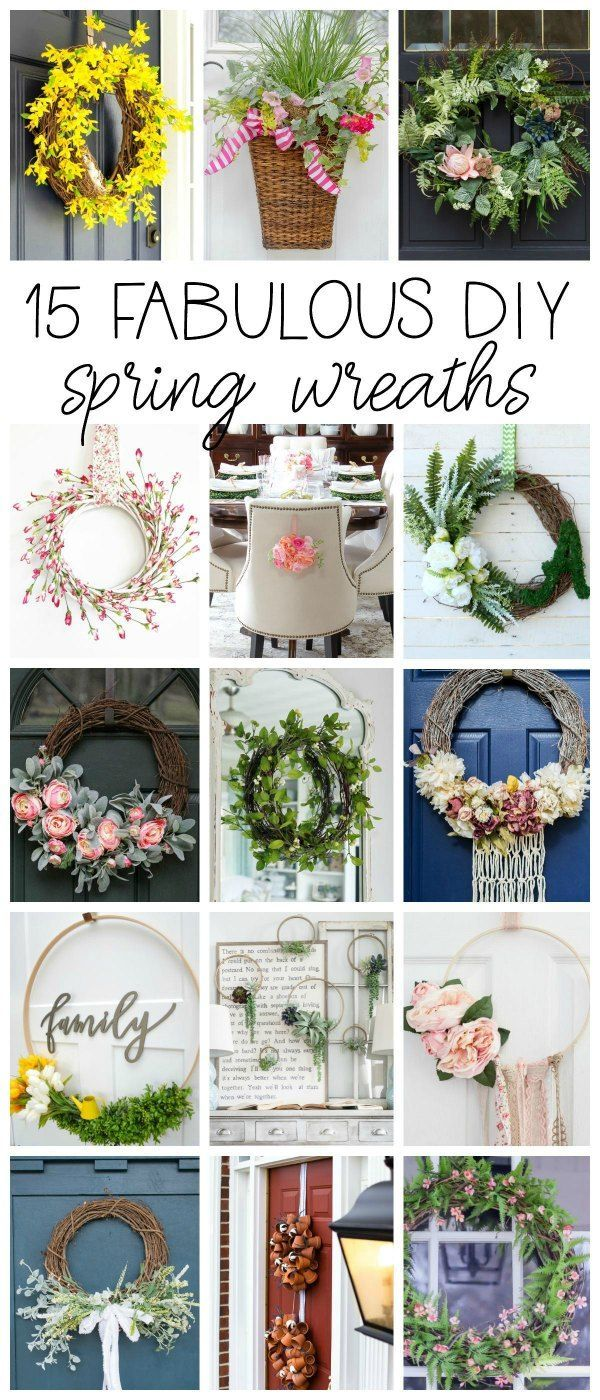 15 Fabulous DIY Spring Wreaths for your home!. Front Door, kitchen, entryway, dining chairs. #ChairsDIY