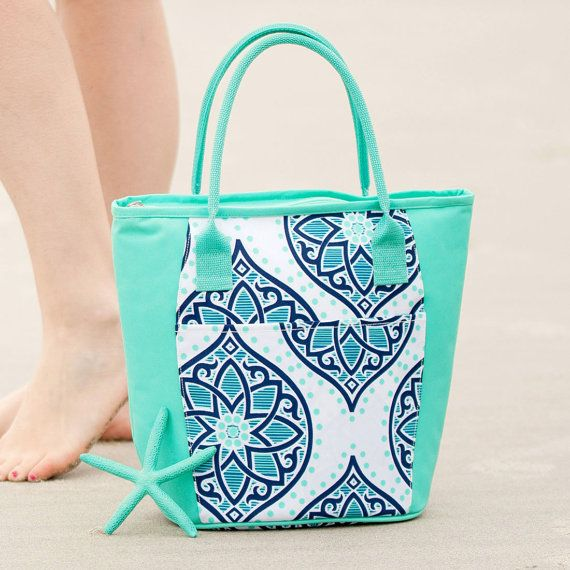 Mint Cooler Tote  Mint Personalized Lunch by charleyjoscreations2