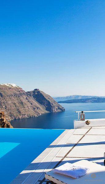 Beautiful Santorini views from the luxurious San Antonio Hotel