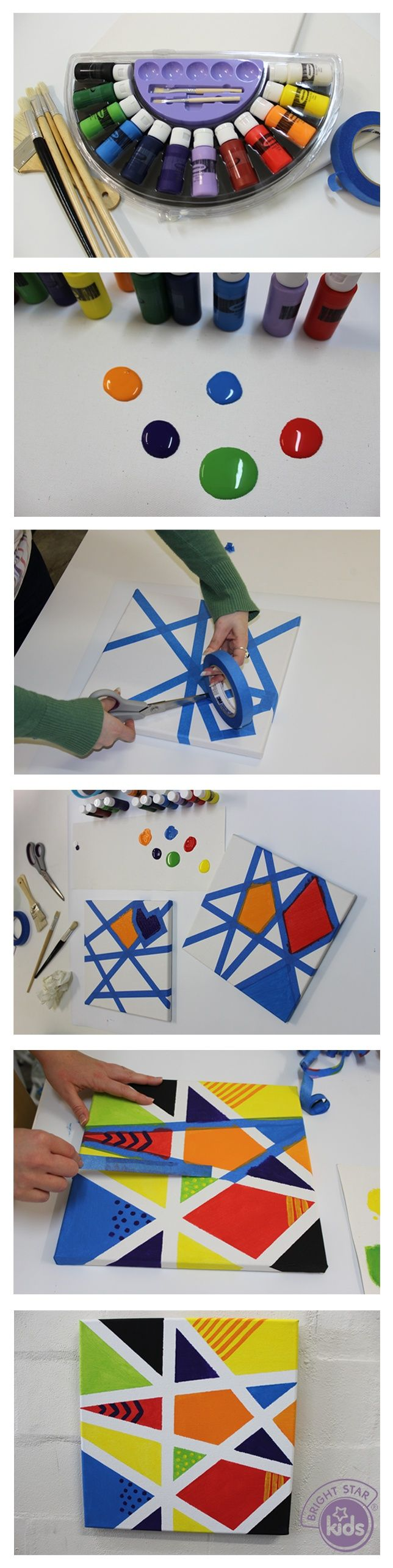 Tape resist painting- a fun project for kids abstract colour