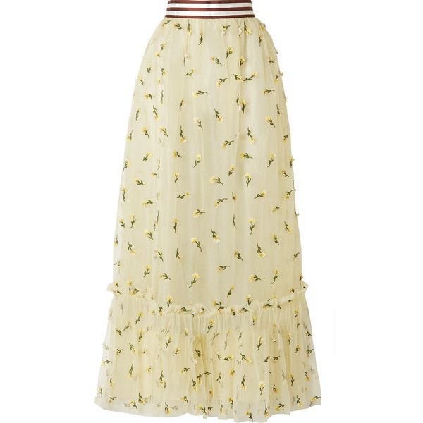 GANNI Bliss embellished tulle maxi skirt (10.391.060 IDR) ❤ liked on Polyvore featuring skirts, cream, cream maxi skirt, striped skirts, fitted maxi skirt, long fitted skirts and tulle skirts