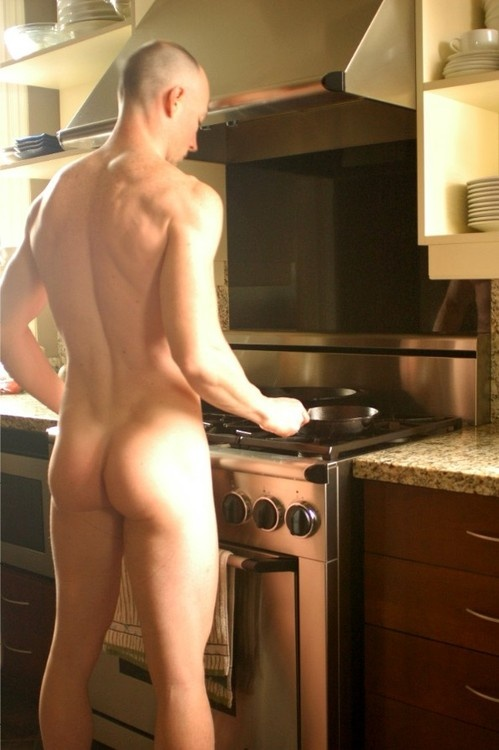 sexy nude man cooking