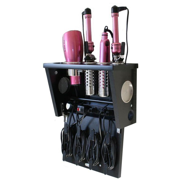 Style hair like a pro with this wall mounted organizer. Keeps your hair tools organized and tangle free.