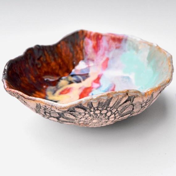 Ceramic Textured Lace Bowl.