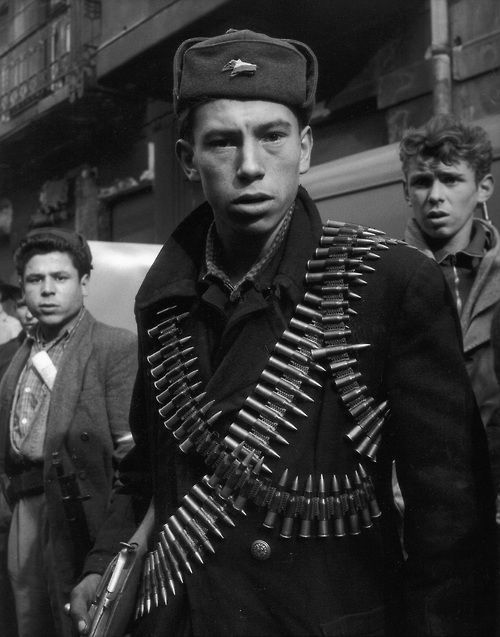 A rebel in Budapest during the Hungarian Revolution, 1956. Mario De Biasi