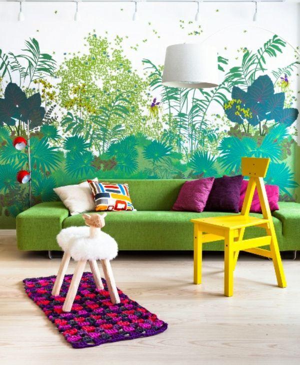 Dschungel Kindertapete Kinderzimmer gestalten modern stadt