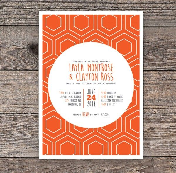 Tangerine Invitation  This modern, playful invitation features bright colours and pattern. The colours can be adjusted to better suite your theme if required. 5″ x 7″. Available at www.tristalee.com