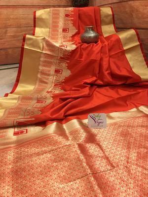 Deep Orange color Katan Banarasi Saree in 2018 banarasi saree