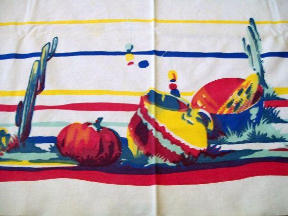 Vintage Southwestern Tablecloth Vintage by VintagePlusCrafts, $15.00