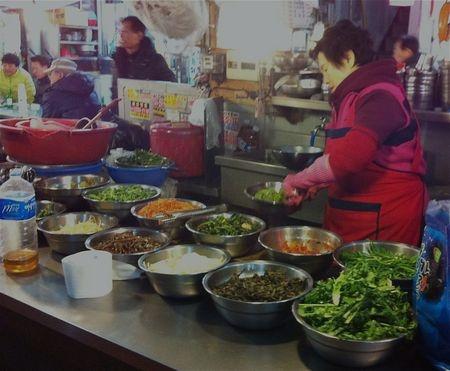 bibimbap a la minute at Gwangjang Market in Seoul
