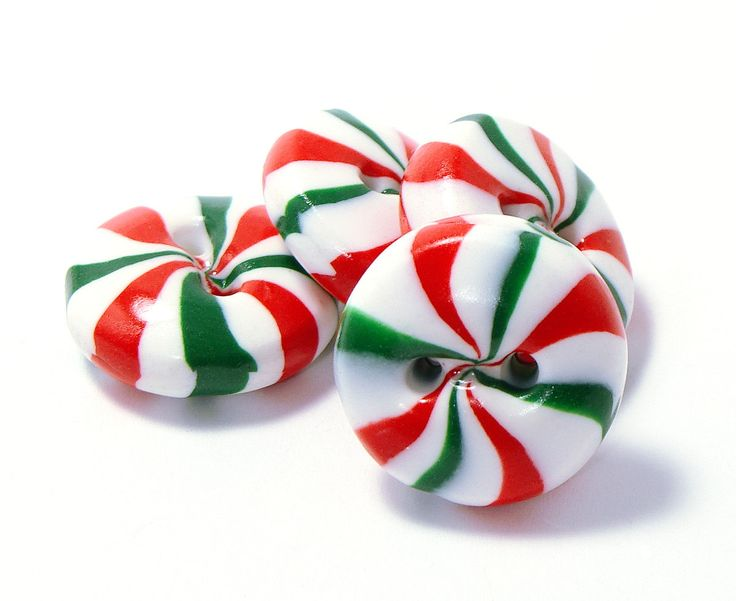Polymer clay buttons red green white peppermint candies set of four. $8.50, via Etsy.
