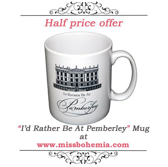 Half Price Offer Jane Austen Mug, Pride & Prejudice Mug, I'd Rather Be At Pemberley, Book Mug, UK