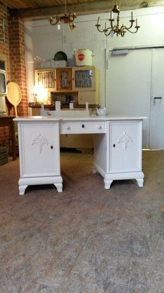 Schreibtisch, Eiche, Alt Weiß, Vintage, Shabby