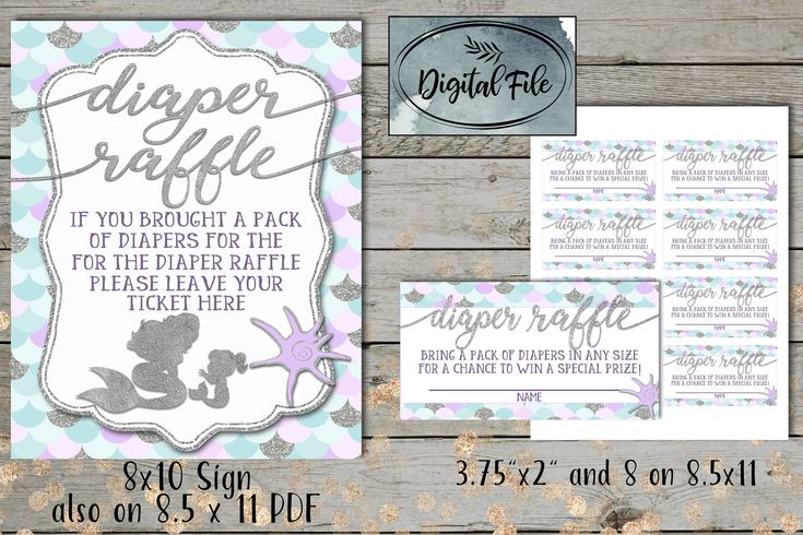 Excited to share the latest addition to my #etsy shop: Mermaid Diaper Raffle Ticket Cards  Little Mermaid Baby Shower Invite Whimsical Mermaid Under The Sea  Diaper Raffle Sign   Under the Sea http://etsy.me/2BN9Uge #papergoods #purple #babyshower #silver #diapershower