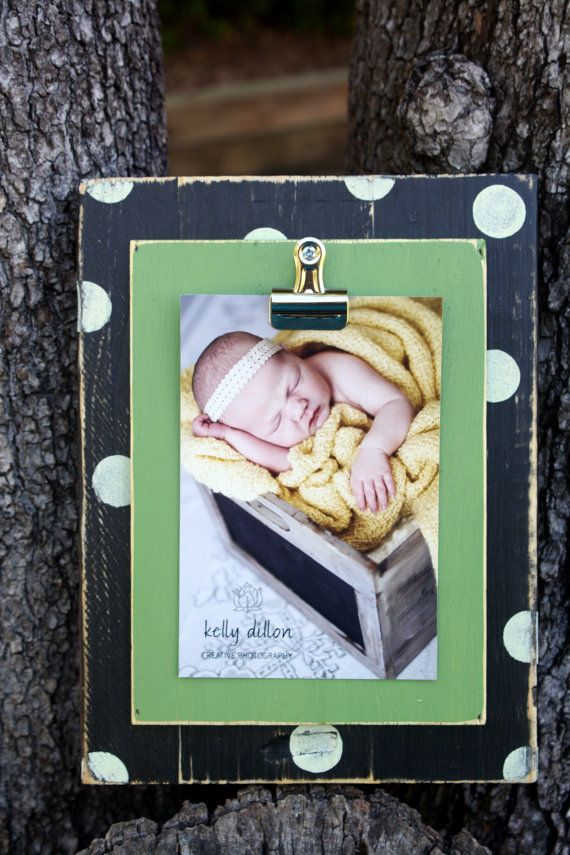 Distressed Picture Frame, 4x6 Picture Frame, clip frame, recipe holder, office organizer, Team Colors, Polka Dot Frame