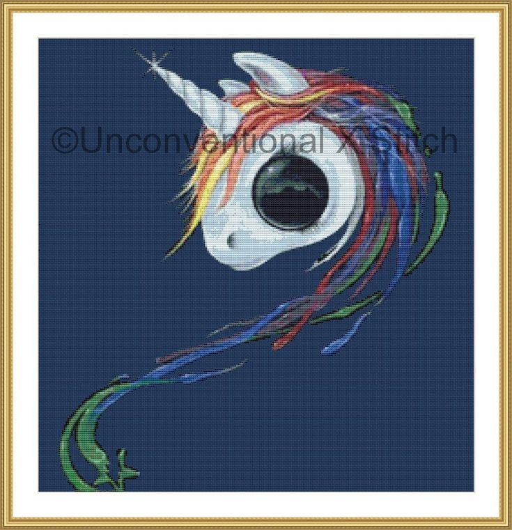 Look an Ugly One-horned Mule Rainbow unicorn cross stitch pattern - Licensed Sugar Fueled by UnconventionalX on Etsy