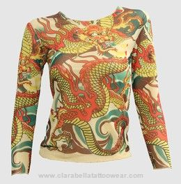 T #Dragon #Yellow #Transparent #long #sleeve #Top #attitude #rock