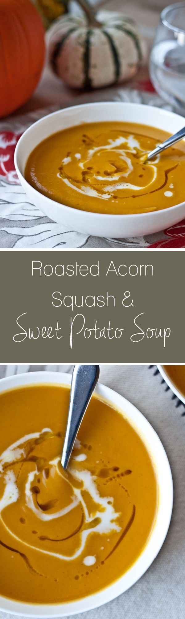 Creamy Roasted Acorn Squash and Sweet Potato Soup. An EASY soup for fall! Naturally dairy-free and vegan.