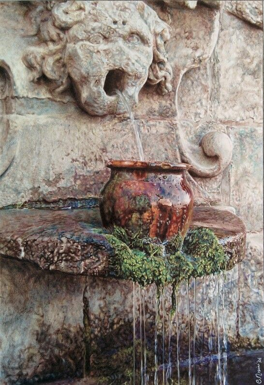 Fontana barocca, colored pencils on paper, 2014. #draw #colourpencils #drawings #art #artist #carandache #fountain #water #baroque www.facebook.com/limaelabor