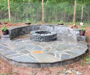 Stone Veneer Fire Pit Patio