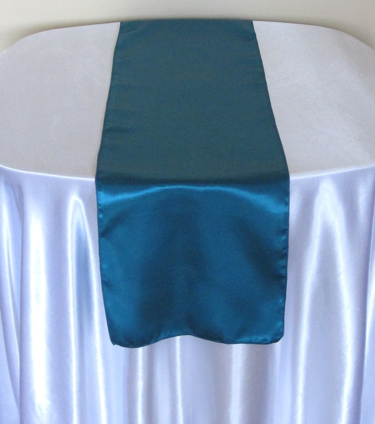 TEAL BLUE, SATIN TABLE RUNNER AVAILABLE TO HIRE £2.50 EACH
