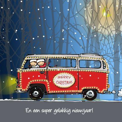 Kerstkaarten - Kerstkaart vw bus rood1