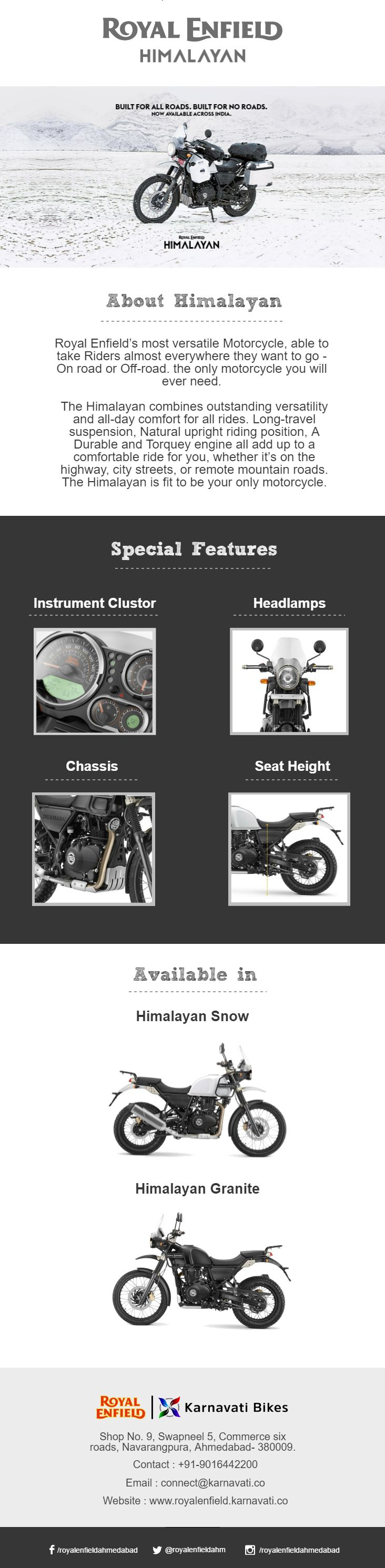A motorcycle most suitable for any trip, trail or tour. A true rider's dream - #RoyalEnfield Himalayan. Check out below infographic for more details.
