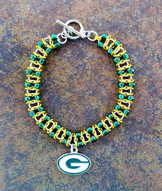 Green Bay Packers football jewelry chainmail bracelet with