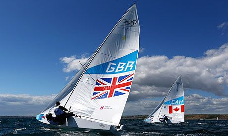 Iain Percy and Andrew Simpson, who are leading Team GB in the two-handed Star keelboat class at the London 2012 regatta. Photograph: Clive Mason/Getty Images